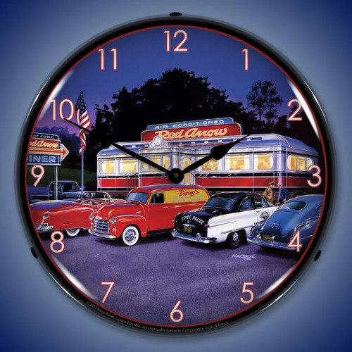 Retro Red Arrow Diner Lighted Wall Clock 14 x 14 Inches