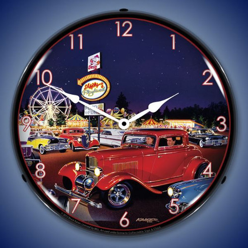 Retro Sammys Playland  Lighted Wall Clock 14 x 14 Inches