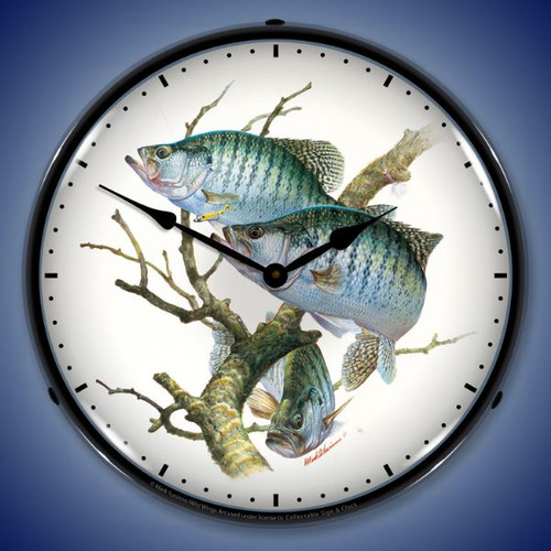 Crappies Lighted Wall Clock 14 x 14 Inches