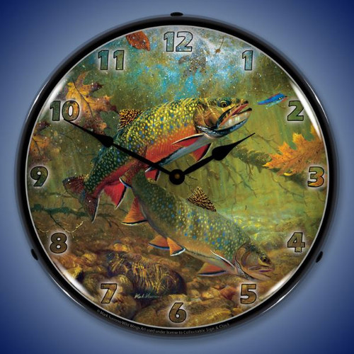 American Beauties Trout Lighted Wall Clock 14 x 14 Inches