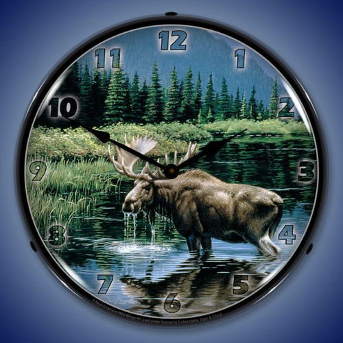 Northern Solitude Moose Lighted Wall Clock