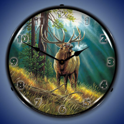 Calling All Challengers Elk Lighted Wall Clock 14 x 14 Inches