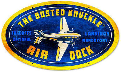 Retro Air Dock Oval Metal Sign 24 x 14 Inches