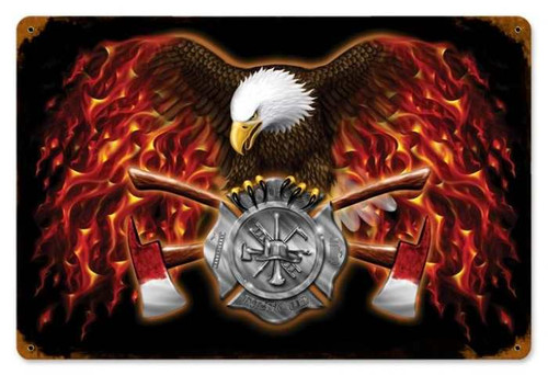Vintage-Retro American Firefighter Metal-Tin Sign