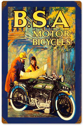 BSA Motorcycles Vintage Metal Sign   12 x 18 Inches