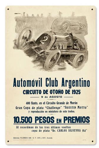 Retro Argentina Grand Prix Metal Sign 12 x 18 Inches