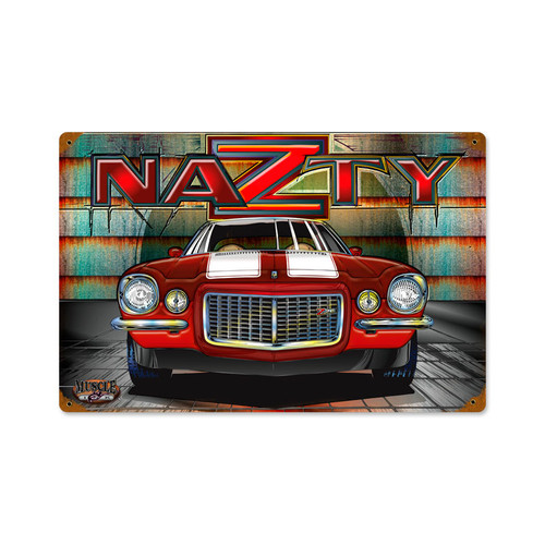 Retro Nazty Vintage Metal Sign 18 x 12 Inches