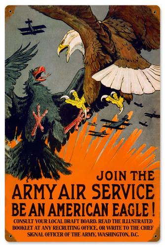 Retro Eagle Army Air  Metal Sign 12 x 18 Inches