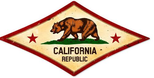 Retro California Flag Diamond Metal Sign 24 x 12 Inches