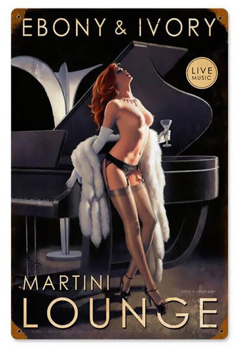 Ebony and Ivory Pinup Metal Sign 12 x 18 Inches