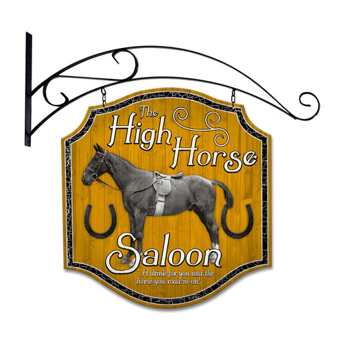 Retro High Horse Tavern Double Sided  w Wall Mount Sign 20 x 20 Inches