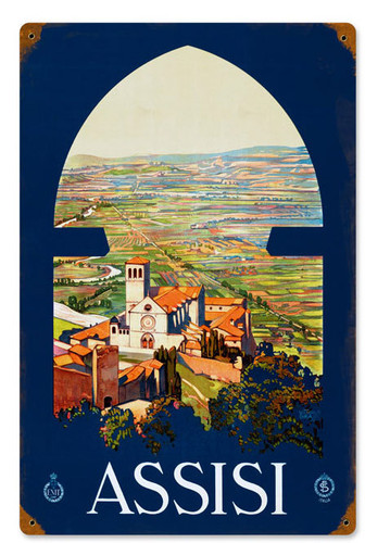 Retro Assisi  Metal Sign 12 x 18 Inches