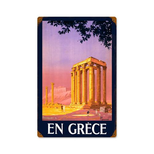 Retro Greece  Metal Sign 12 x 18 Inches