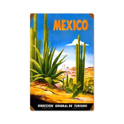 Retro Mexico Cactus  Metal Sign 12 x 18 Inches