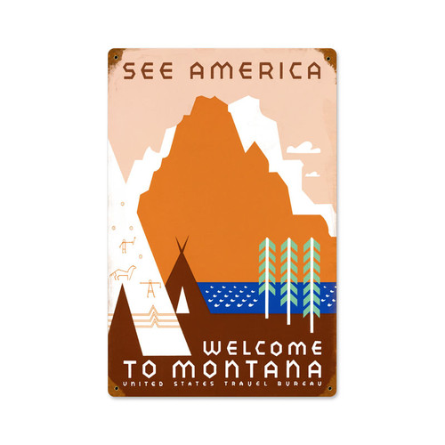 Retro See America  Metal Sign 12 x 18 Inches