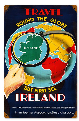 Retro Travel Ireland  Metal Sign 12 x 18 Inches