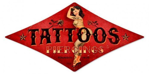 Vintage Tattoos Diamond  - Pin-Up Girl Metal Sign 12 x 24 Inches