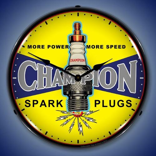Vintage Champion Plugs Lighted Wall Clock