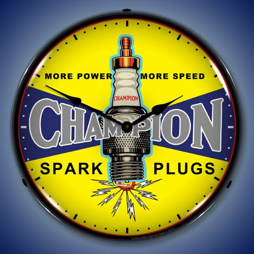 Vintage Champion Plugs Lighted Wall Clock 14 x 14 Inches