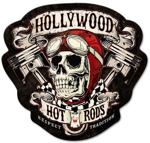 Skull Pistons Hot Rods Metal Shape Sign 27 x 26 Inches