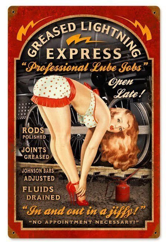 Greased Lightning Pinup Metal Sign 12 x 18 Inches