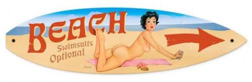 Vintage-Retro Nude Beach Surfboard Metal-Tin Sign