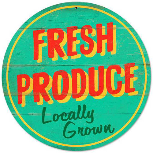 Retro Fresh Produce Round Metal Sign 14 x 14 Inches