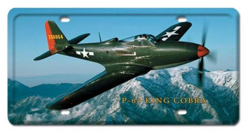 Vintage P-63 King Cobra License Plate 6 x 12 Inches