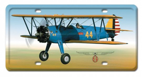 Vintage Stearman License Plate  6 x 12 Inches