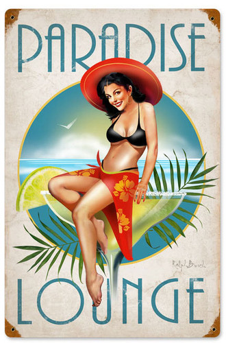 Vintage Paradise Metal Sign 12 x 18 Inches