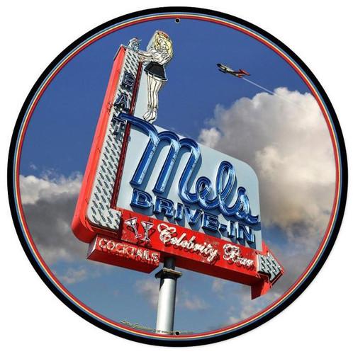 Mels Daytime Round Metal Sign