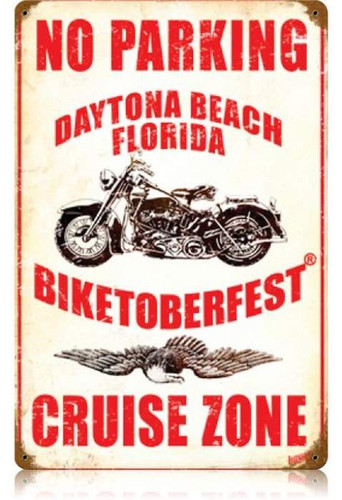Vintage No Parking Cruise Zone Metal Sign   12 x 18 Inches