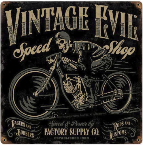 Vintage Evil Speed Shop Metal Sign 12 x 12 Inches