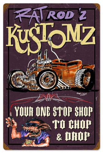 Vintage-Retro Rat Rodz Kustomz Metal-Tin Sign
