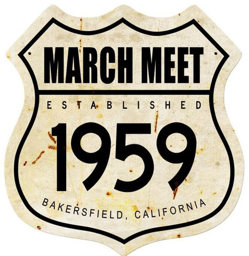 March Meet 1959 Shield Metal Sign 15 x 15 Inches