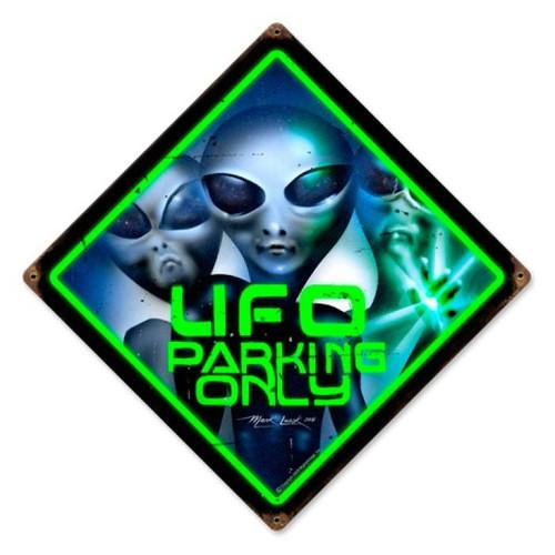 Vintage-Retro UFO Parking Metal-Tin Sign