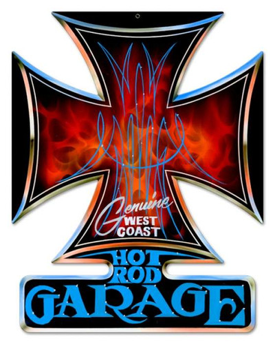 Vintage Hot Rod Garage Iron Cross Metal Sign 14 x 18 Inches