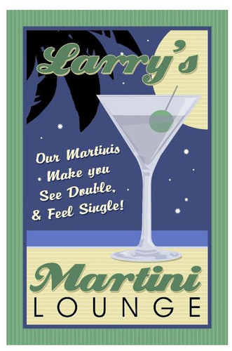 Martini Lounge Tin Sign - Personalized  12 x 18 Inches