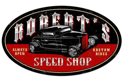 Late Night Speed Shop Metal Sign - Personalized  24 x 14 Inches
