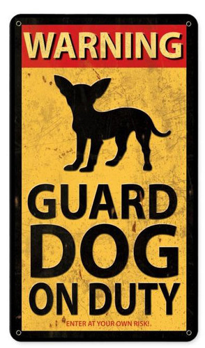 Retro Guard Dog On Duty Metal Sign 8 x 14 Inches