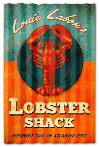 Lobster Shack Corrugated Rustic Barn  Sign 16 x 24 Inches