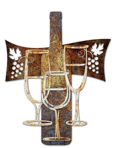Wine Time 3D Rustic Sign 24 x 24 Inches