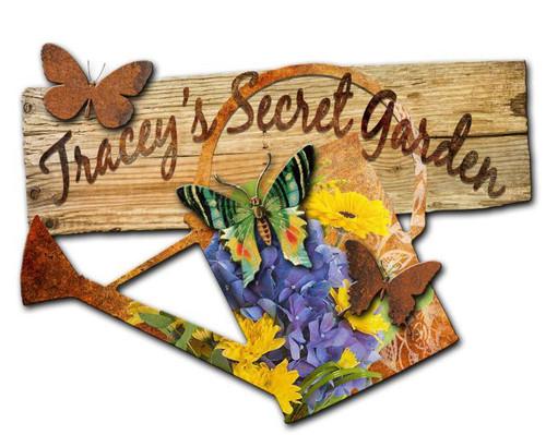 My Secret Garden Custom Shape Metal Sign 24 x 24 Inches