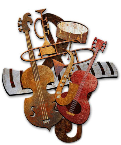 Musical Instruments 3D Rustic Sign 24 x 24 Inches