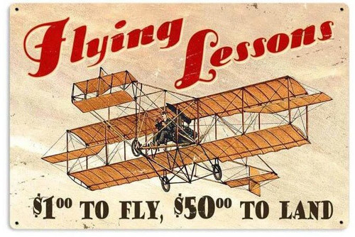 Flying Lessons Retro Metal Sign 36 x 24 Inches