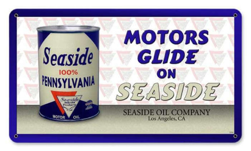 Vintage Seaside Oil Can Metal Sign 14 x 8 Inches