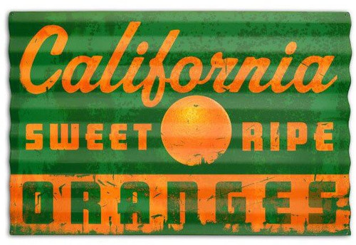 California Oranges Corrugated Rustic Sign 24 x 16 Inches