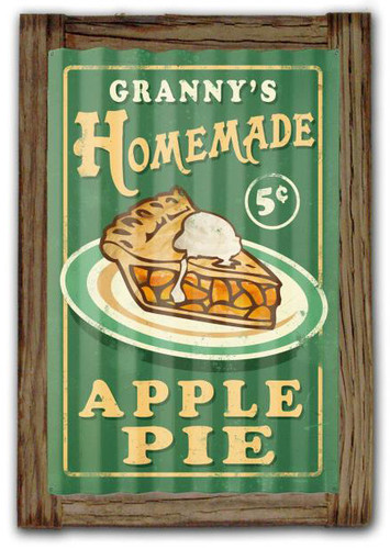 Home Made Pies  Corrugated Rustic Metal and  Barn Wood Sign 16 x 24 Inches