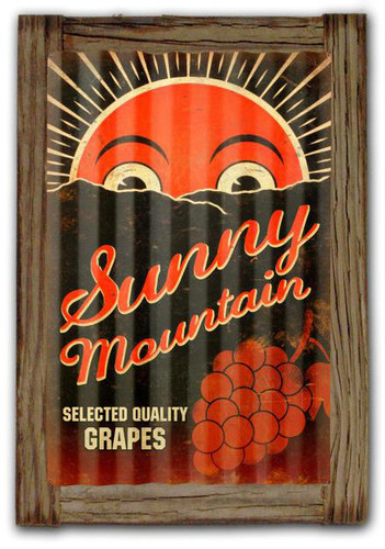Sunny Mountain Grapes  Corrugated Rustic Metal and  Barn Wood Sign 16 x 24 Inches