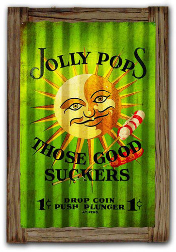 Jolly Pops  Corrugated Rustic Metal and  Barn Wood Sign 16 x 24 Inches